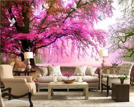 Beibehang Custom Fantasy Sakura Trees Sika Deer TV Wall Living Room Bedroom wall - $35.95