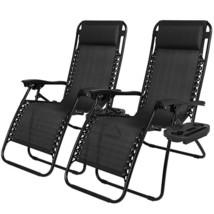 2 Zero Gravity Lounge Chair Recliners Set + Cup Holders Outdoor Patio Be... - $95.86