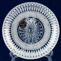 """Action Industries Diamond Crystal 6"""" Shallow Bowl Glass Dish Italy Vintage - $10.00"""