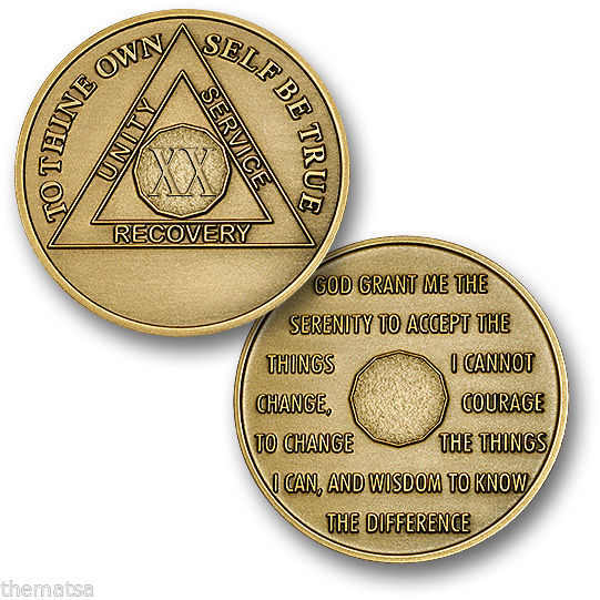 Primary image for AA ALCOHOLICS ANONYMOUS 20 YEAR RECOVERY SOBRIETY USA MADE  CHALLENGE  COIN