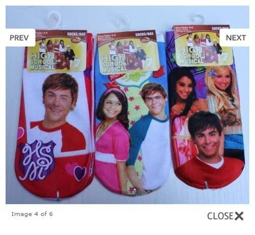 3 Pack Ankle Socks, Disney's High School Musical 2, Girls Size 6-8, Zac Efron