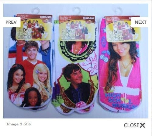 3 Pack Ankle Socks, Disney's High School Musical 2, Girls Size 6-8, Zac Efron image 2