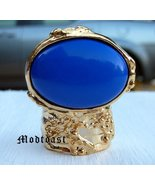 Arty Oval Ring Royal Blue Gold Size 9.5 - $22.99