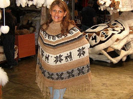 Peruvian poncho made of  Rustic Alpaca Wool,outerwear - $94.00