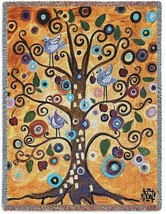 70x53 TREE OF LIFE Birds Contemporary Tapestry Afghan Throw Blanket - $60.00