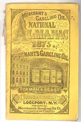 1875 Merchant's Gargling Oil National Almanac Lockport NY Forman Beast opera