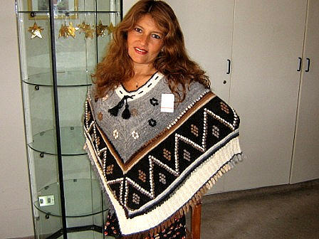 Embroidered Poncho, Alpaca Wool, Outerwear