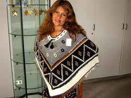 Embroidered Poncho, Alpaca Wool, Outerwear - $96.00