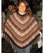 Embroidered brown Poncho,natural alpacawool,outerwear  - $123.00