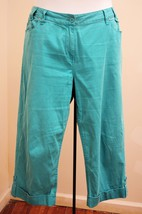Chicos 2 L Capri Pants Turquoise Pinwale Corduroy Stretch Cropped Cuffed... - $19.59
