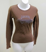 "American Eagle XS Top Brown ""Dynamik amps"" Long Sleeve Cotton Tee T Shirt Casual - $8.80"