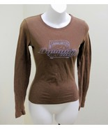 """American Eagle XS Top Brown """"Dynamik amps"""" Long Sleeve Cotton Tee T Shir... - $8.80"""