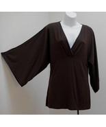 Ann Taylor Loft S Top Brown Tunic Babydoll Peasant Draped 3/4 Wide Sleev... - $19.57