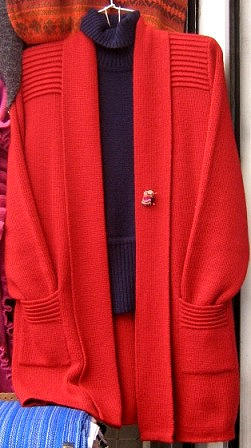 Elegant red open placked long Cardigan, pure Babyalpaca wool