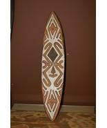 Papua Gulf Ritual Spirit Polychrome Pigmented Flute Board Trophy Shield ... - $275.49