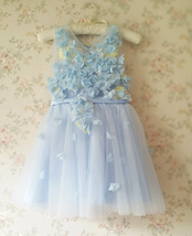Full Flowers Embroidery Short Flower Girl Dress Blue Wedding Birthday Dress NWT image 9