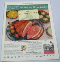 1936 Print Ad Armour Star Ham and Pickled Peaches April Meal of the Month - $14.98