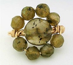 Spectrolite Gemstone Bead Gold Wire Wrap Ring sz 9 - $15.79