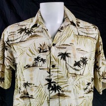 Go Barefoot Palm Trees Huts Outriggers Medium Rayon Hawaiian Aloha Shirt - $29.69