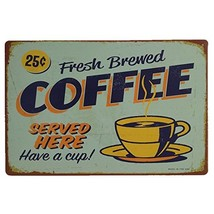 AiYahoo Fresh Brewed Coffee Served Here Have a Cup Retro Vintage Sign, 1... - $9.79