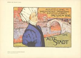 """OTTO FISCHER Dresden, Die Alte Stadt 8.25"""" x 11.5"""" Lithograph 1897 Vintage - $148.50"""