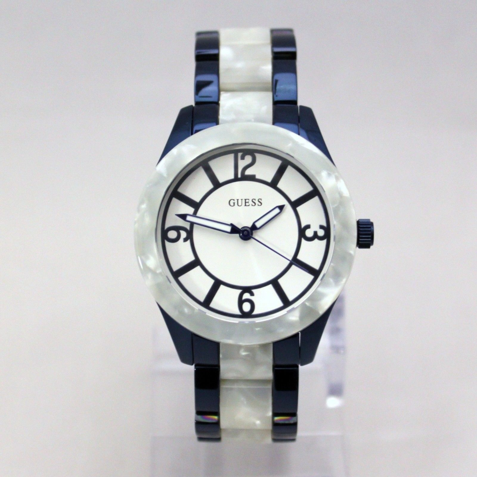 Primary image for New GUESS W0074L3 Marbleized Blue Stainless Steel  Women Watch