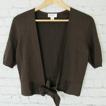 Ann Taylor Loft Cardigan Top Womens Small S Brown Crop Knit - $11.88