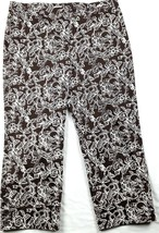 Ann Taylor Cropped Pants Womens 10 Brown Denim Floral Design Ankle Buttons - $14.92