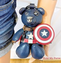 Coach Disney Marvel Captain America Shield Bear Bag Backpack Charm Leath... - $118.00
