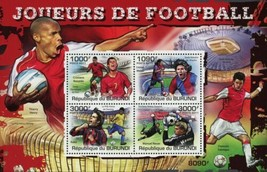 Soccer Sport Lionel Messi Cristiano Ronaldo Sov. Sheet of 4 Stamps MNH - $17.28