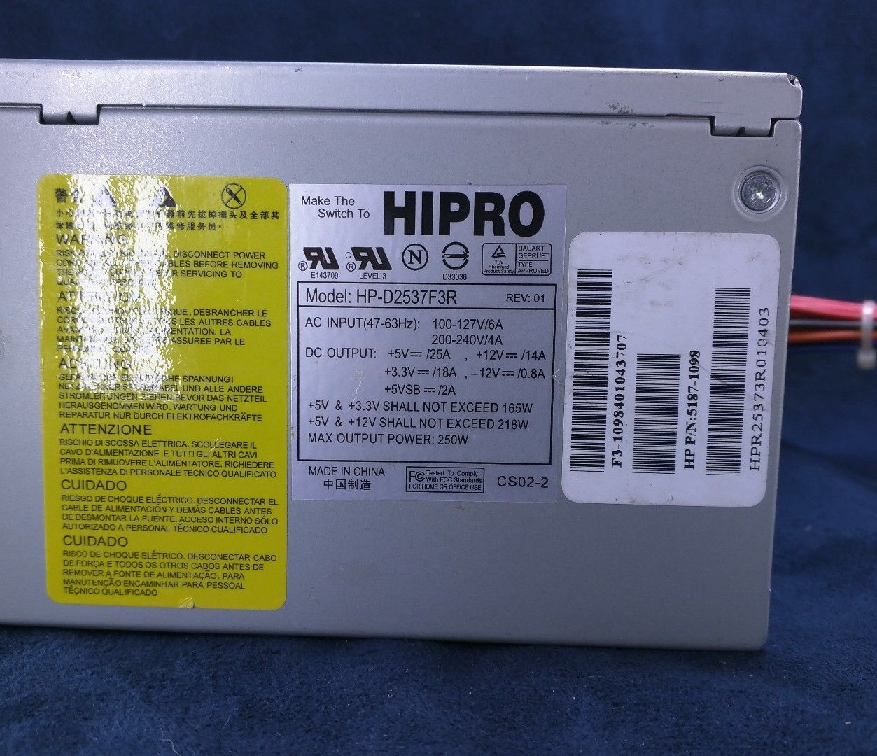 Bestec ATX-250-12Z HP 5187-1098 Replacement Power Supply for Hipro HP-D2537F3R