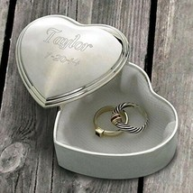 Engraved Silver Plated Heart Trinket Box Engraved Gifts Personalized Gifts - $21.14
