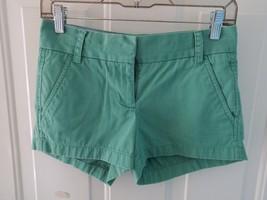 J.CREW Flat Front CHINOS  Shorts Green SIZE 00 WOMEN'S EUC - $20.25