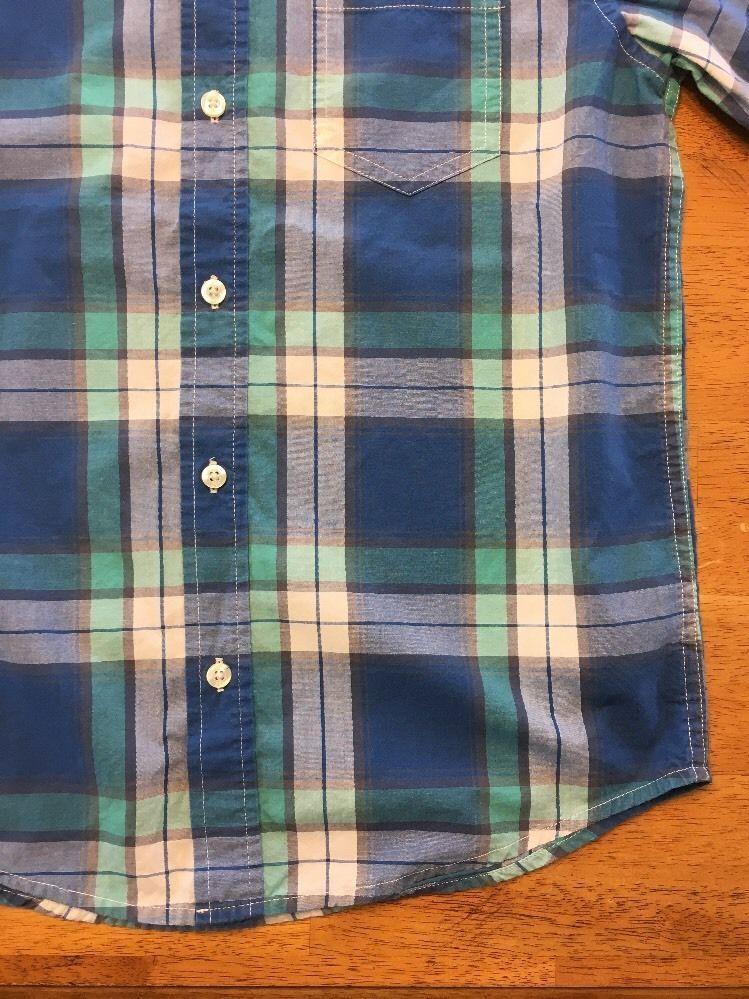 Gap Kids Boy's Blue, Green & White Plaid Short Sleeve Dress Shirt - Size: Medium image 9