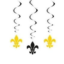Fleur De Lis 3 Ct Hanging Swirl Decorations Black and Gold - ₨450.15 INR