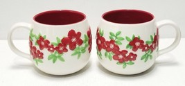 Set of 2 - Starbucks Coffee 2007 White Cup w/ 3D Red Flowers & Green Lea... - $43.51