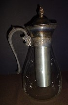 Vintage MCM Silver Plate Glass Pitcher Jug With Aluminum Ice Core Holder RETRO - $31.66