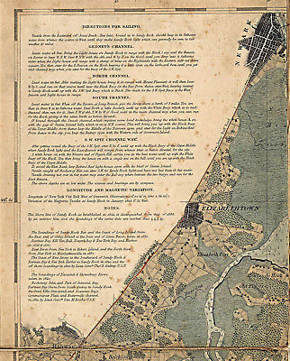 New York Bay And Harbor Wall Map Poster US Survey Chart - Map of us 1845