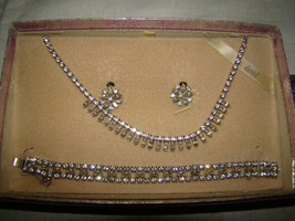 Vtg 1960s B David Rhinestone Navette Bracelet~Necklace~Earring Set Silve... - $30.00