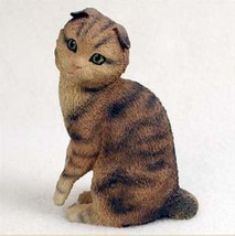 SCOTTISH FOLD BROWN TABBY CAT Figurine Statue Hand Painted Resin Gift - $17.25