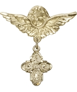 4-Way - Baby Badge and Angel with Wings Pin - 14kt Gold - $615.99