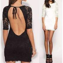 Sexy Floral Lace Backless Bodycon Dress - $28.00
