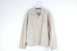 Vintage 90s Polo Ralph Lauren Mens Large Stitched Logo Cotton Bomber Jacket Tan - $69.25