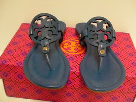 Womens tory burch slippers greek blue  miller veg nappa size 6.5 us new - $188.05