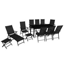 vidaXL Outdoor Furniture Set 12 Piece Aluminum Folding Table Chairs Sunl... - $557.99
