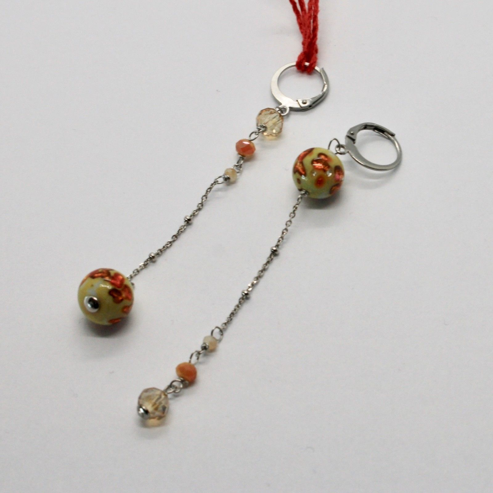 EARRINGS ANTICA MURRINA VENEZIA WITH MURANO GLASS ORANGE BEIGE OR568A10
