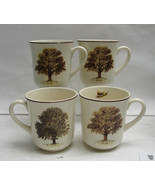 Set of FOUR (4) ORVIS Fine Earthenware China - TREES Pattern - COFFEE MUGS - $52.95