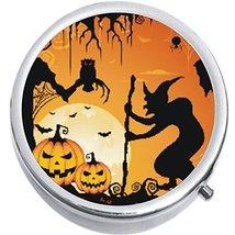 Witch Bats Pumpkins Halloween Medicine Vitamin Compact Pill Box - $9.78
