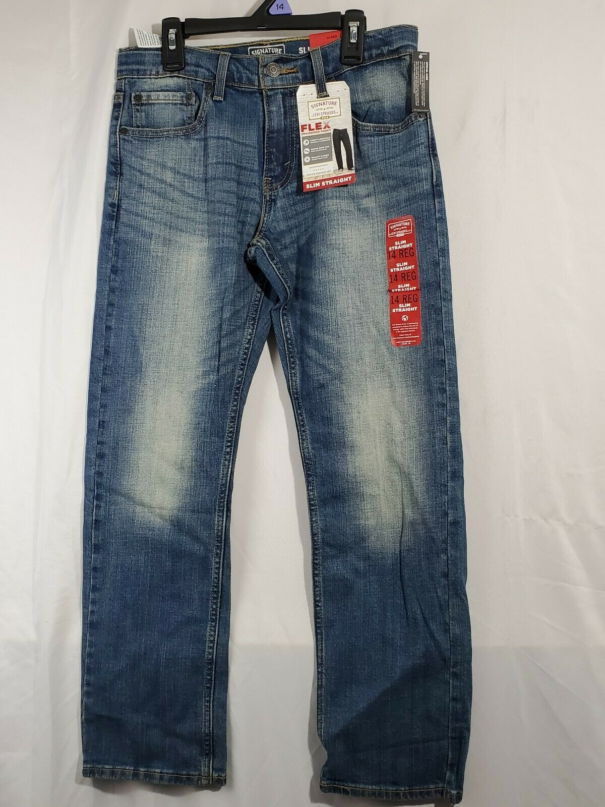 Primary image for Signature by Levi Strauss Gold Label Boys Athletic slim Straight Jeans 14 (8b)