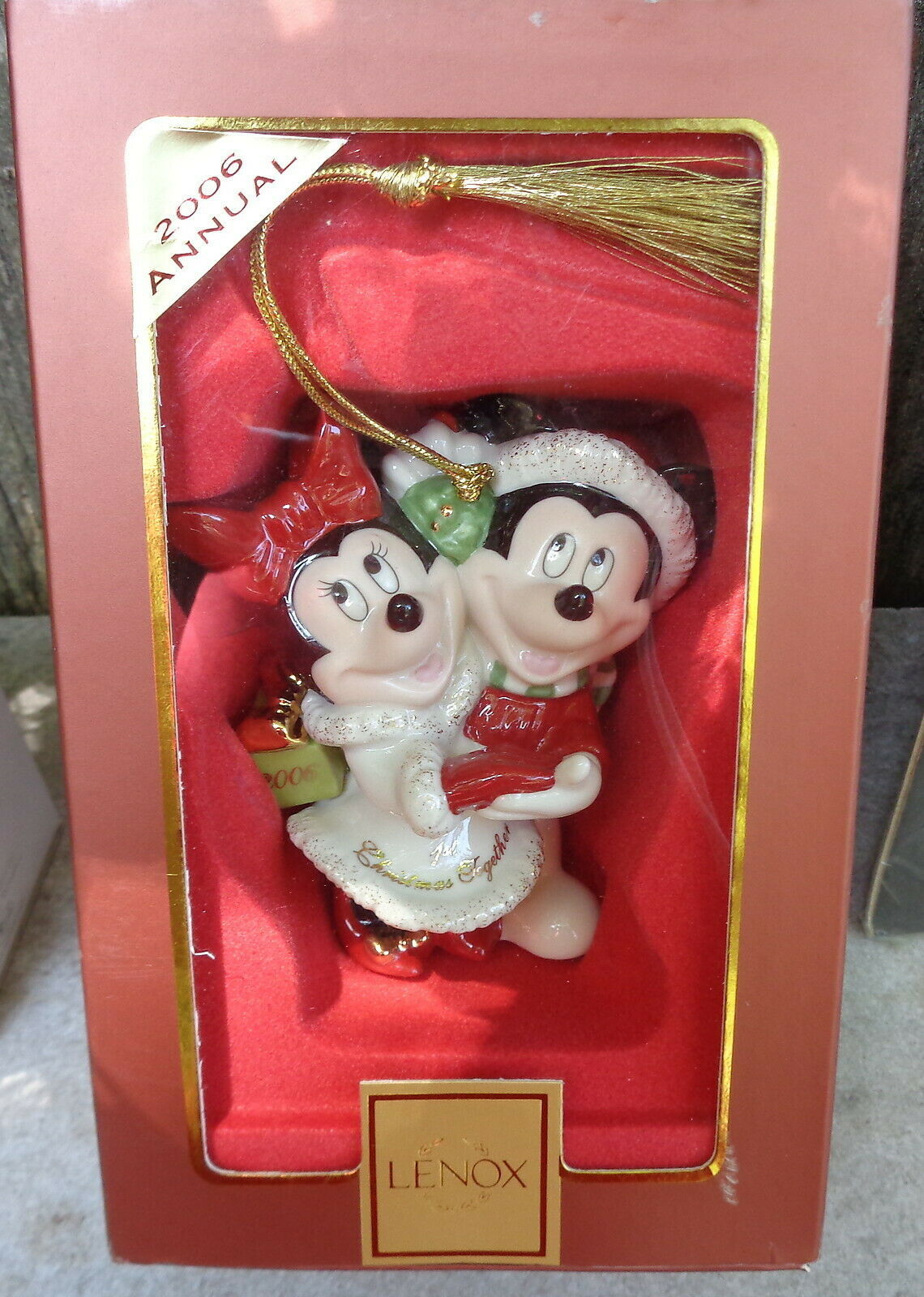 Primary image for 2006 Lenox China Disney Mickey & Minnie Mouse Porcelain Christmas Tree Ornament